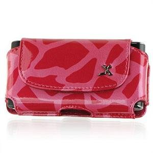 Horizontal Leather Safari Pouch Case Cover for Palm Centro 690 - Hot Pink Giraffe #2