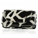 Horizontal Leather Safari Pouch Case Cover for LG Incite CT810 (AT&T) - Black / White Giraffe #2