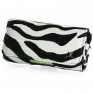 Horizontal Leather Safari Pouch Case Cover for LG Incite CT810 (AT&T) - Black / White Zebra #2