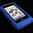 PREMIUM Matte Finish Textured Soft Rubber Silicone Case for LG Dare - Blue