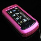 Hard Plastic Full View Rubber Feel Cover Case for LG Xenon GR500 (AT&T) - Hot Pink