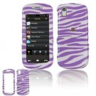 Hard Plastic Design Cover Case for Samsung Instinct S30 - Purple / White Zebra