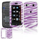 Hard Plastic Design Cover Case for LG Xenon GR500 (AT&T) - Purple / White Zebra