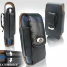 Black Leather Vertical Extendable Belt Clip Pouch Case for Palm Treo Pro (#4)