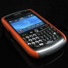 Hard Plastic Two Piece Dual Color Rubber Feel Faceplates for Blackberry 8900 - Orange / Black