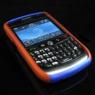 Hard Plastic Two Piece Dual Color Rubber Feel Faceplates for Blackberry 8900 - Orange / Blue