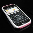 Hard Plastic Robotic Cover Case for Nokia E71 - White / Pink