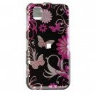 Hard Plastic Design Cover Case for Samsung Finesse R810 (MetroPCS) - Pink Butterfly