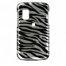 Hard Plastic Design Cover Case for Samsung Magnet A257 (AT&T) - Black / Silver Zebra