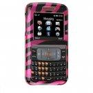 Hard Plastic Design Cover Case for Samsung Magnet A257 (AT&T) - Plum / Black Zebra