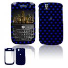 Hard Plastic Design Cover Case for BlackBerry Tour 9600/9630 - Black / Blue Polka Dots