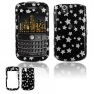 Hard Plastic Design Cover Case for BlackBerry Tour 9600/9630 - Black / Silver Stars