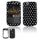 Hard Plastic Design Cover Case for BlackBerry Tour 9600/9630 - Black / White Polka Dots
