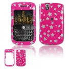 Hard Plastic Design Cover Case for BlackBerry Tour 9600/9630 - Pink / Silver Stars