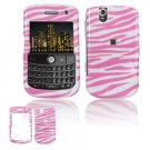 Hard Plastic Design Cover Case for BlackBerry Tour 9600/9630 - Pink / White Zebra