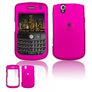 Hard Plastic Rubber Feel Cover Case for BlackBerry Tour 9600/9630 - Hot Pink