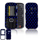 Hard Plastic Design Cover Case for LG Rumor 2 LX265 - Black / Blue Polka Dots