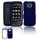 Hard Plastic Design Cover Case for Samsung Impression A877 (AT&T) - Black / Blue Polka Dots