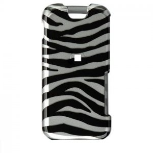Hard Plastic Design Cover Case for Motorola Clutch i465 - Black / Silver Zebra