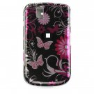 Hard Plastic Design Cover Case for BlackBerry Tour 9600/9630 - Pink Butterfly