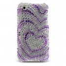 Hard Plastic Bling Design Cover Case for Apple iPhone 3G - Purple w/ Silver Hearts
