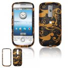 Hard Plastic Design Cover Case for HTC G2 Mytouch - Gold / Black Floral