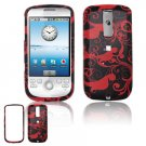 Hard Plastic Design Cover Case for HTC G2 Mytouch - Red / Black Floral