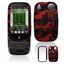 Hard Plastic Design Shield Cover Case for Palm Pre - Red / Black Floral