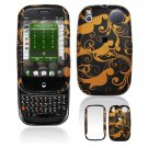 Hard Plastic Design Shield Cover Case for Palm Pre - Gold / Black Floral