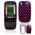 Hard Plastic Design Shield Cover Case for Palm Pre - Hot Pink / Black Polka Dots