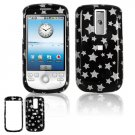 Hard Plastic Design Cover Case for HTC G2 Mytouch - Black / Silver Stars