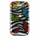 Hard Plastic Design Cover Case for BlackBerry Javelin 8900 - Rainbow Butterfly Zebra