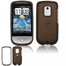 Hard Plastic Rubber Feel Faceplate Case Cover for HTC Hero - Brown