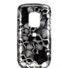 Hard Plastic Design Faceplate Case Cover for HTC Hero - Black Skulls