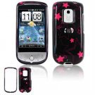 Hard Plastic Design Faceplate Case Cover for HTC Hero - Black/Pink Stars