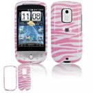 Hard Plastic Design Faceplate Case Cover for HTC Hero - Pink/White Stripes