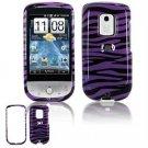 Hard Plastic Design Faceplate Case Cover for HTC Hero - Purple/Black Stripes