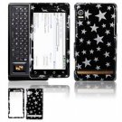 Hard Plastic Design Faceplate Case Cover for Motorola Droid - Black/Silver Stars