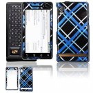 Hard Plastic Design Faceplate Case Cover for Motorola Droid - Light Blue/Black