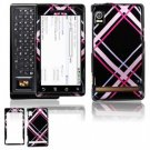 Hard Plastic Design Faceplate Case Cover for Motorola Droid - Pink/Black