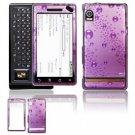 Hard Plastic Design Faceplate Case Cover for Motorola Droid - Purple Rain Drops