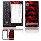 Hard Plastic Design Faceplate Case Cover for Motorola Droid - Red/Black