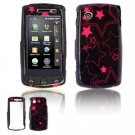 Hard Plastic Design Faceplate Case Cover for LG Bliss UX700 - Black/Pink Stars
