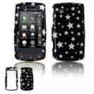 Hard Plastic Design Faceplate Case Cover for LG Bliss UX700 - Black/Silver Stars