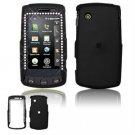 Hard Plastic Rubber Feel Faceplate Case Cover for LG Bliss UX700 - Black Gem Bling