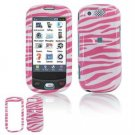Hard Plastic Design Cover Case for Samsung Highlight T749 - Pink / White Zebra