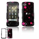 Hard Plastic Design Faceplate Case Cover for LG Chocolate Touch - Black/Pink Stars-1