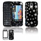 Hard Plastic Design Faceplate Case Cover for Samsung Rogue U960 - Black/Silver Stars