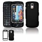Hard Plastic Rubber Feel Faceplate Case Cover for Samsung Rogue U960 - Black Gem Bling