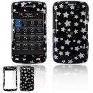 Hard Plastic Design Faceplate Case Cover for Blackberry Storm 2 9550 - Black/Silver Stars